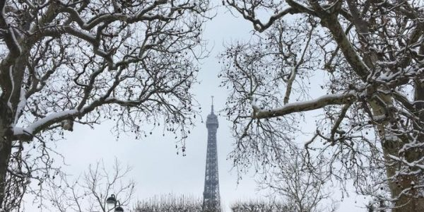 #EBCphotojography:  The tree-lined path leading to the Eiffel Tower as snow hits Paris