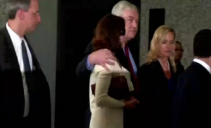 Newspaper publisher Conrad Black and his wife.  Courtesy REUTERS/ Photo grabbed from Reuters video