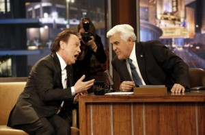 """Host Jay Leno (R) is pictured with actor Billy Crystal during a commercial break while taping the last episode of """"The Tonight Show with Jay Leno"""" in Burbank, California February 6, 2014. Leno said an emotional goodbye to the """"Tonight Show"""" on Thursday with a star-studded farewell led by actor Billy Crystal, after hosting the NBC late night program for more than 20 years and handing the reins over to Jimmy Fallon. Courtesy REUTERS/Mario Anzuoni"""
