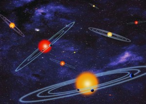 An artist's concept- depiction of multiple-transiting planet systems, which are stars with more than one planet.  NASA announced Wednesday (February 26, 2014) the discovery of 715 new planets.  Image credit: NASA