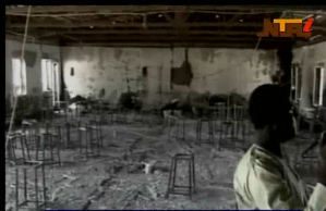 A view inside one of the boarding schools in Nigeria which gunmen from the Islamist group Boko Haram burned down, killing 49 pupils.  (Photo grabbed from Reuters video)