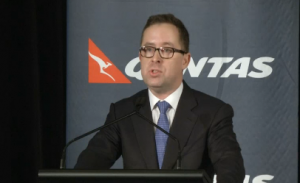 """""""Today I regret to announce that we will be reducing our employee numbers by the equivalent of 5,000 full-time staff over the next three years,"""" says Qantas Chief Executive Alan Joyce on Thursday (February 27).  Photo grabbed from Reuters video."""