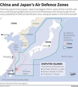 Map of the East China Sea marking Japan's air defence zone along with China's newly established Air Defence Identification Zone. CREDIT: REUTERS