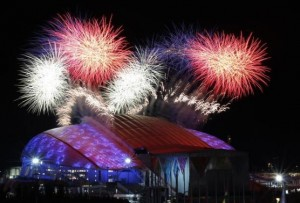Fireworks are seen over the Olympic Park during the opening ceremony of the 2014 Sochi Winter Olympics, February 7, 2014. CREDIT: REUTERS/MARKO DJURICA