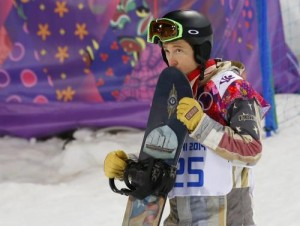 Shaun White of the U.S. reacts after the men's snowboard halfpipe final at the 2014 Sochi Winter Olympic Games, in Rosa Khutor February 11, 2014. Credit: Reuters/Mike Blake