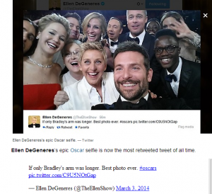 Ellen Degeneres' selfie becomes the most retweeted tweet of all time.