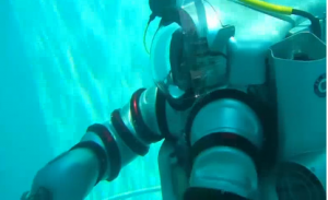 Deep sea exploration is set to take a big step forward with the creation of an advanced Exosuit, designed to take free-diving humans deeper than ever before. The suit will allow explorers to interact with marine species in their own habitat and open new doors to discovery. Courtesy Reuters.  (Photo grabbed from Reuters video)