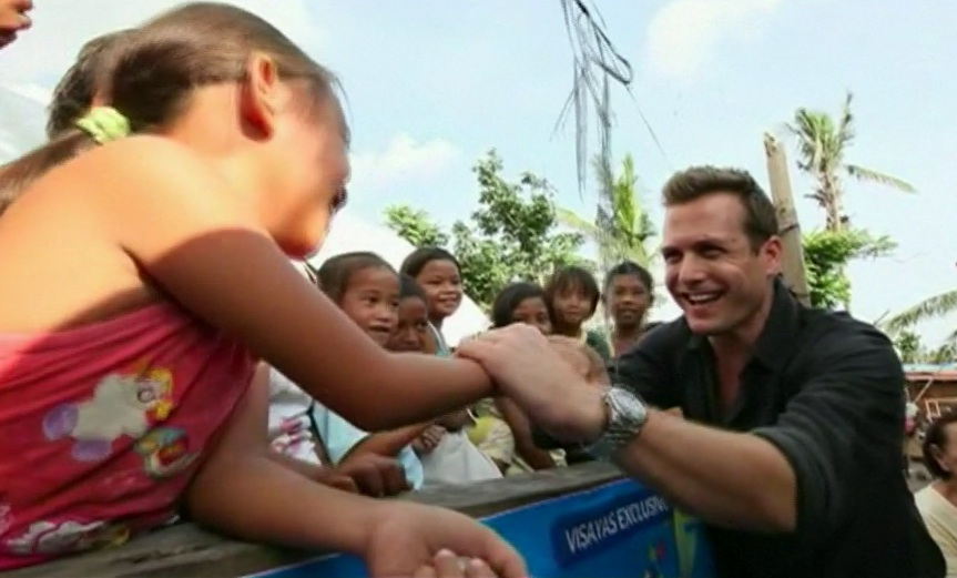 """Star of TV series """"Suits"""", Gabrel Macht, visits areas affected by Typhoon Haiyan in central Philippines and says he was inspired to see resilience among survivors who are rebuilding their lives after the disaster. courtesy: Reuters video"""