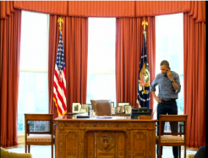 US President Barack Obama makes a phone call to Russian President Vladimir Putin and tells him that Russia committed a clear violation of Ukrainian sovereignty by sending forces into Crimea. (Courtesy Reuters)