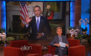"President Obama appears on the ""Ellen"" DeGeneres show, Thursday, March 20.  (Photo grabbed from Reuters video)"