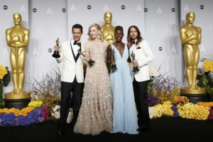 Winners Matthew McConaughey for Best Actor, Cate Blanchett for Best Actress, Lupita Nyong'o for Best Supporting Actress and Jared Leto for Best Supporting Actor hold their Oscars at the 86th Academy Awards in Hollywood, California March 2, 2014  REUTERS/Mario Anzuoni