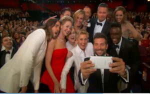 """Actual """"selfie"""" take during the Oscars which resulted in a tweet that was tagged as the most retweeted tweet of all time. (Photo grab courtesy Reuters video)"""