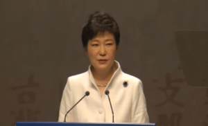 South Korean President Park Geun-hye urges Japan to acknowledge the past and proposes to North Koea for regular family reunions during an official ceremony marking the 95th anniversary of Independence Movement Day. (Photo grabbed from Reuters video)