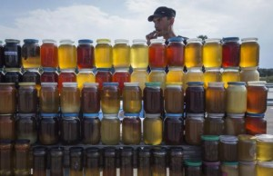 A vendor, who is also a beekeeper, sells honey at a road side market north of Astana