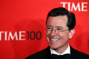 Comedian Stephen Colbert arrives to be honored at the Time 100 Gala in New York