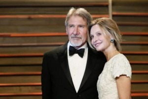 Actor Harrison Ford and his wife Calista Flockhart arrive at the 2014 Vanity Fair Oscars Party in West Hollywood