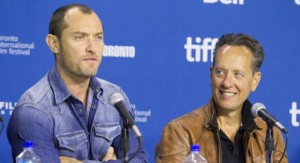 "Actors Jude Law and actor Richard E. Grant attend a news conference for the film ""Dom Hemingway"" at the 38th Toronto International Film Festival"