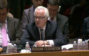 Russia's ambassador to the U.N. Vitaly Churkin appeals to the UN Security Council to use its influence with Ukraine to stop the launch of an anti-terrorist operation against pro-Russian activists (Photo grabbed from Reuters video)