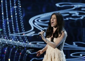 "Menzel performs nominated original song ""Let it Go"" by Lopez and Anderson-Lopez, for the film ""Frozen"" at the 86th Academy Awards in Hollywood"