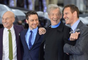 British actors Patrick Stewart, James McAvoy, Ian McKellen and Irish-German actor Michael Fassbender arrive for the British premiere of 'X-Men: Days of Future Past' at Leicester Square in London