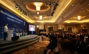 """President Benigno S. Aquino III addresses the 23rd World Economic Forum on East Asia (WEF-EA) 2014 Opening Plenary at the Shangri-la Hotel in Makati City on Thursday (May 22). With the theme: """"Leveraging Growth for Equitable Progress,"""" the meeting will serve as an ideal platform for participants to deliberate the opportunities of the ASEAN Economic Community to promote greater inclusion across East Asia and instill more resilient decision-making in the face of unpredictable economic and natural disruptions. More than 600 leaders from business, government, civil society and academia will participate, representing over 30 countries.  (Photo by Ryan Lim / Malacañang Photo Bureau)"""