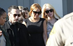 Lohan, with her mother Dina Lohan, leaves a probation violation hearing at Airport Branch Courthouse in Los Angeles
