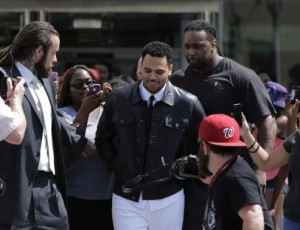 Grammy-winning R&B singer Chris Brown departs the D.C. Courthouse in Washington