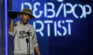 Pharrell Williams accepts the award for best male R&B/pop artist during the 2014 BET Awards in Los Angeles, California June 29, 2014. Credit: Reuters/Mario Anzuoni