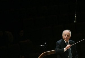 Music Director Lorin Maazel conducts the New York Philharmonic during a rehearsal before their concert at the Seoul Arts Centre February 28, 2008. Credit: Reuters/Lee Jae-Won
