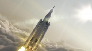 NASA's Space Launch System 70-metric-ton configuration is seen launching to space in this undated artist's rendering