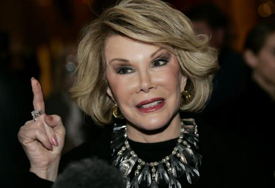 Comedian Joan Rivers talks to reporters as she arrives for a gala honoring the late stand-up comedian George Carlin, the 11th Annual Mark Twain Prize for American Humor recipient, at the Kennedy Center in Washington November 10, 2008.    REUTERS/Molly Riley