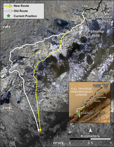 This image shows the old and new routes of NASA's Mars Curiosity rover and is composed of color strips taken by the High Resolution Imaging Science Experiment, or HiRISE, on NASA's Mars Reconnaissance Orbiter. This new route provides excellent access to many features in the Murray Formation. And it will eventually pass by the Murray Formation's namesake, Murray Buttes, previously considered to be the entry point to Mt. Sharp. Image Credit: NASA/JPL-Caltech/Univ. of Arizona