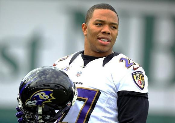 Baltimore Ravens running back Ray Rice (27) warms up during the NFL's Super Bowl XLVII football practice in New Orleans, Louisiana January 30, 2013. CREDIT: REUTERS/SEAN GARDNER