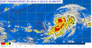 "Location of Typhoon ""Paeng"". Satellite image courtesy of PAGASA-DOST"