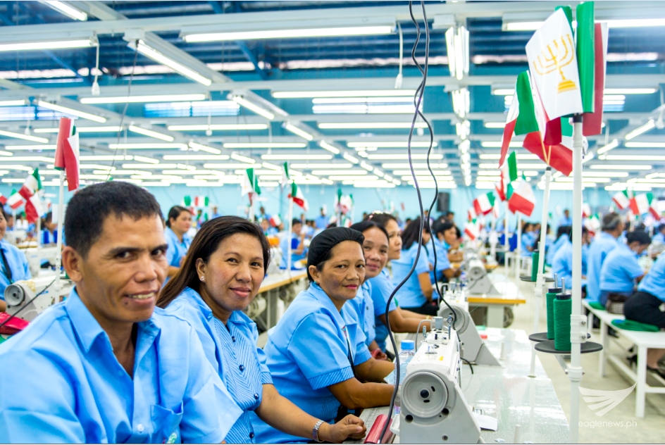 Some of the workers in the garments factory that had been put up by the FYM Foundation inside the Iglesia Ni Cristo EVM Self-Sustainable Resettlement Community in Bgy. Langit, Alangalang, Leyte.  (Photo courtesy FYM Foundation)