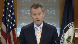 US State Department spokesman Jeff Rathke reiterates at a briefing the U.S. view that China's reclamation work had contributed to rising tensions and said building up of underwater features did not confer a right to a territorial sea or an exclusive economic zone.  (Photo grabbed from Reuters video/Courtesy Reuters)