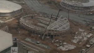 Various of construction work at the Olympic Park in Rio de Janeiro in Brazil. Rio de Janeiro counts down one year to the Olympic Games but concerns mount as to whether the city will be ready or even safe for athletes.  (Photo grabbed from Reuters video)