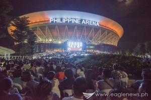 About a hundred thousand, including INC members and their guests, attended the Sept. 26 evangelical mission at the Ciudad de Victoria's Philippine Arena in Bocaue, Bulacan. Seats were also provided in the grounds of the Ciudad de Victoria for those who cannot be accommodated anymore inside the 55,000-seater Philippine Arena and the 20,000-seater Philippine Sports Stadium. Large video walls were also set up outside the Arena. (Photo courtesy INC Executive News)