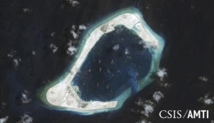 Subi Reef is shown in this handout satellite image dated September 3, 2015 and provided by CSIS Asia Maritime Transparency Initiative/Digital Globe September 14, 2015. REUTERS/CSIS Asia Maritime Transparency Initiative/Digital Globe/Handout via Reuters