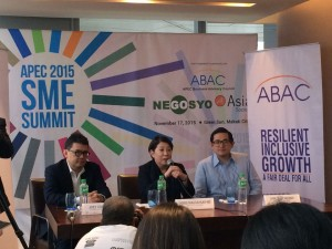 """""""The APEC SME Summit is expected to present the roadmap of the innovation agenda for the Philippines,"""" said Doris Magsaysay-Ho, Chairman of the APEC Business Advisory Council (ABAC). Also present at the APEC SME press conference are Senator Bam Aquino who sponsored several bills on SMEs and entrepreneurship and Joey Concepcion, Go Negosyo Founder & RFM President and CEO. (Eagle News)"""