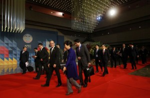 EC 2015 Chairman President Benigno S. Aquino III along with fellow world leaders arrive for the APEC Leaders Retreat at the Philippine International Convention Center in Pasay City on Thursday (November 19). (Photo by Benhur Arcayan / Malacañang Photo Bureau)