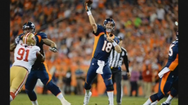 Denver Broncos quarterback Peyton Manning denies using Human Growth Hormone after erroneous report surfaces claiming he used the banned drug in 2011. (Photo captured from Reuters video)