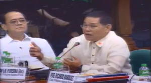 Retired PNP Director General Alan Purisima during the Senate re-opening of the Mamasapano encounter probe. (Eagle News Service)
