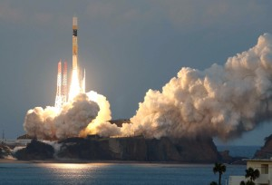 An H-2A rocket carrying the ASTRO-H satellite, developed in collaboration between the Japan Aerospace Exploration Agency (JAXA), NASA and other groups, lifts off at the Tanegashima Space Center in Kagoshima Prefecture, southwestern Japan on February 17, 2016. Japan successfully launched a jointly developed space observation satellite on February 17 tasked with studying mysterious black holes, the country's space agency said.  JAPAN OUT       AFP PHOTO / JIJI PRESS / AFP / JIJI PRESS / JIJI PRESS