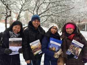 Even in snowy Finland, the Iglesia Ni Cristo brethren excitedly distributed copies of the Pasugo (God's Message) magazine to their fellowmen (Eagle News Service)