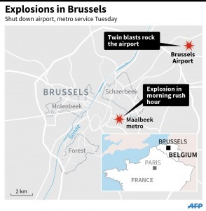 Updated map showing location of Brussels airport where two explosions were heard Tuesday, and Maalbeek metro. Credit: SIMON MALFATTO, LAURENCE SAUBADU, JONATHAN STOREY / AFP