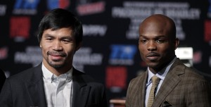Welterweight boxers Manny Pacquiao (L) and Timothy Bradley Jr. pose during their final news conference at the MGM Grand Hotel & Casino Wednesday April 6, 2016 in Las Vegas, Nevada. Pacquiao and Timothy Bradley Jr., will meet for their third fight on April 9 at the MGM Grand Garden Arena in Las Vegas. John GURZINSKI / AFP