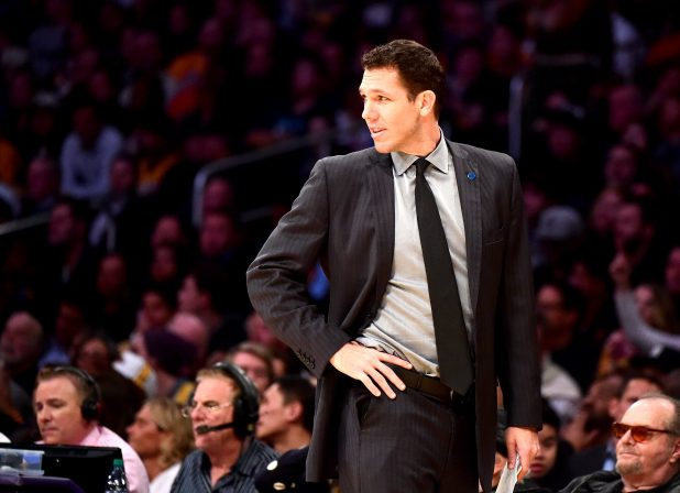 (FILES) LOS ANGELES, CA - JANUARY 05: Interum coach Luke Walton of the Golden State Warriors reacts to play during first half against the Los Angeles Lakers at Staples Center on January 5, 2016 in Los Angeles, California. NOTE TO USER: User expressly acknowledges and agrees that, by downloading and or using this Photograph, user is consenting to the terms and condition of the Getty Images License Agreement.   Harry How/Getty Images/AFP