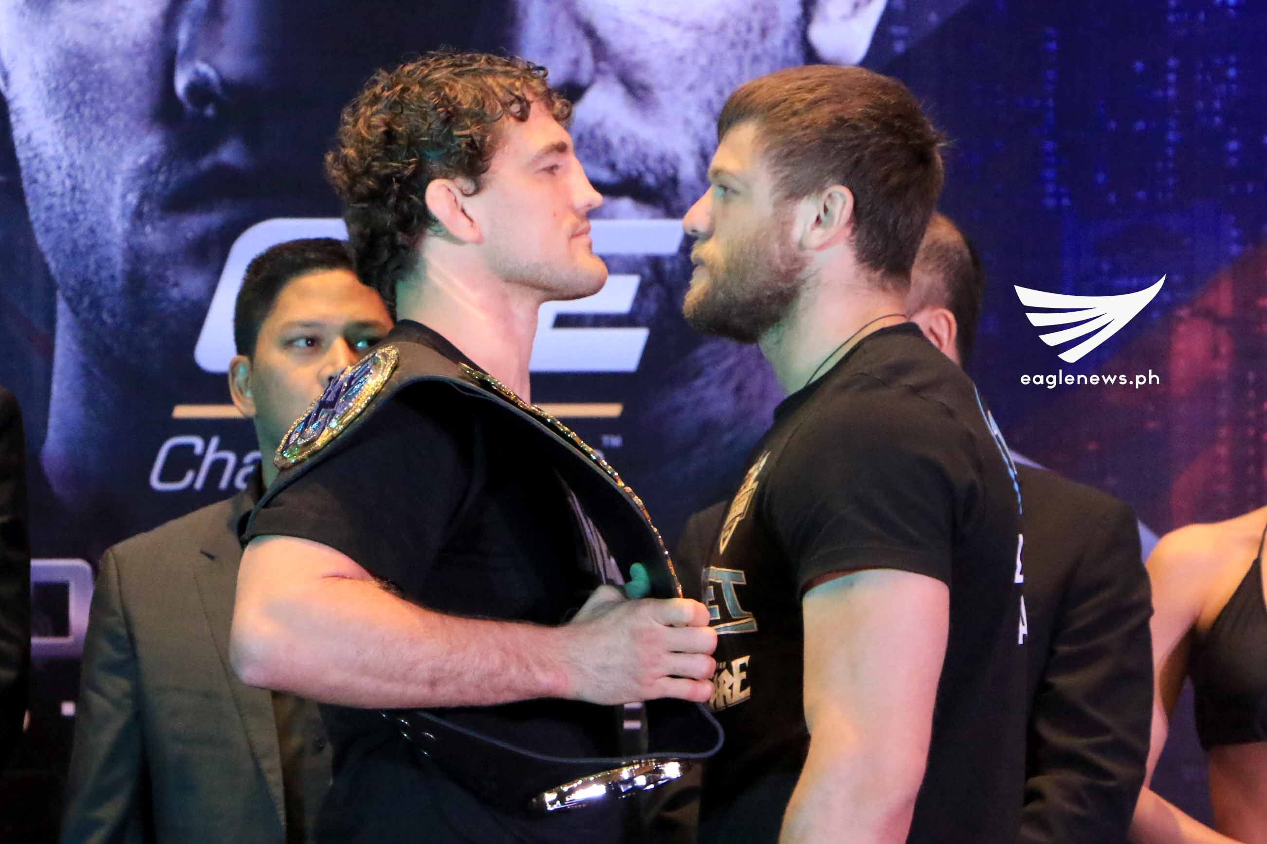 MMA fighters Ben Askren and Nikolay Aleksakhin face off during ONE Championship: Global Rivals press conference.