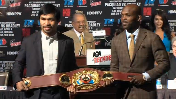 Manny Pacquiao and Tim Bradley set to go for a third and deciding bout between the two welterweight champions.(photo grabbed from Reuters video)